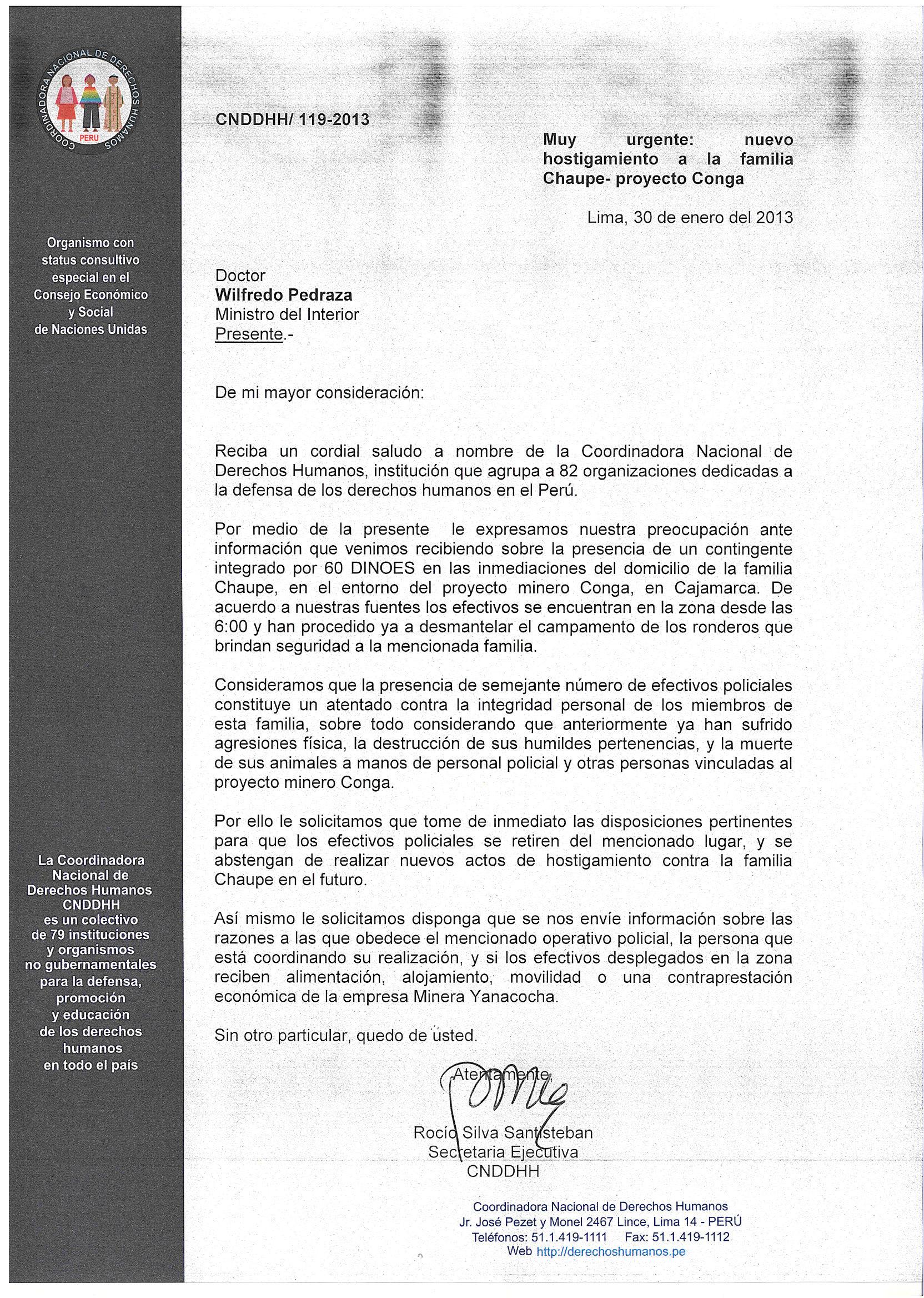 Carta a Ministerio del Interior, Sobre familia Chaupe