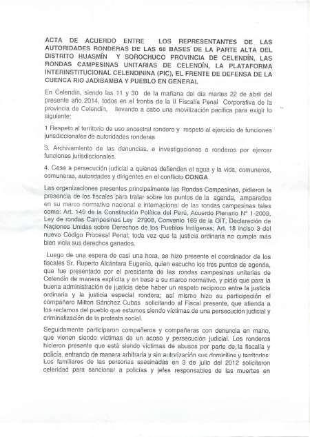 Acta de Acuerdos entre la población de Celendín y el ministerio Poúblico