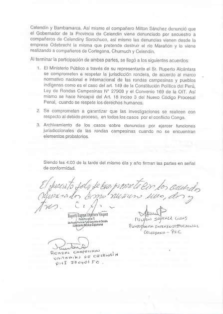 Acta de Acuerdos entre la población de Celendín y el ministerio Poúblico1