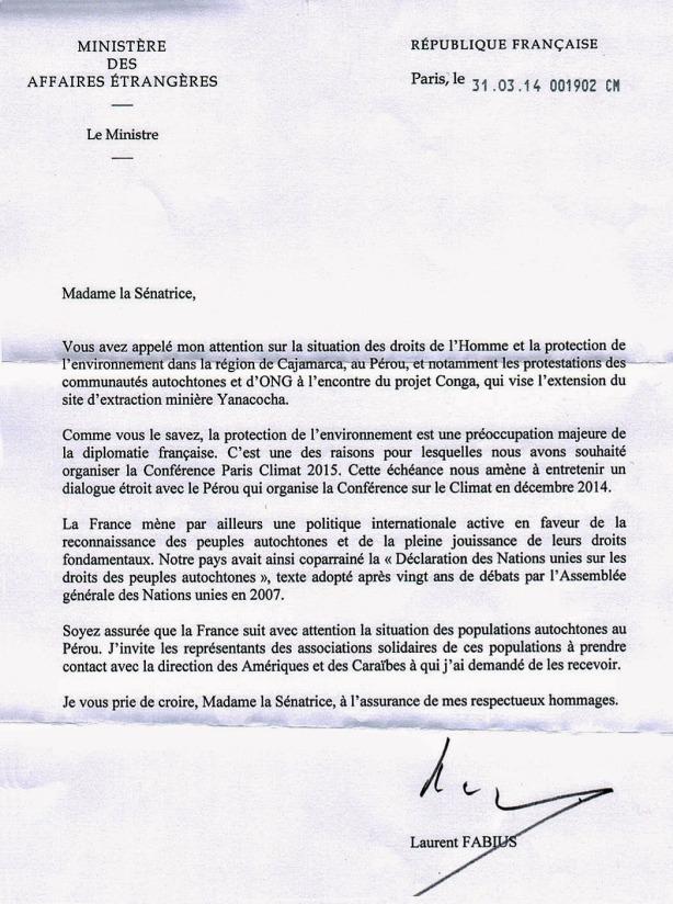 Carta de Ministro Francés Fabius a senadora Cohen